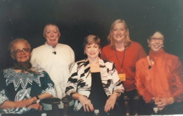 Kathy Grant, Lolita San Miguel, Mary Bowen (seated) with Ron Fletcher and Cathy Strack (kneeling) at Pilates Style Conference August, 2007