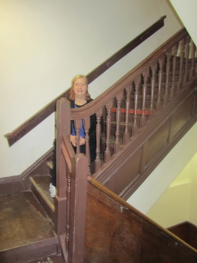 The scary wooden stairs leading up to the old Pilates Studio at 939 Eighth Avenue